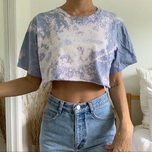 Blue Bleached Acid Wash Cropped T-Shirt